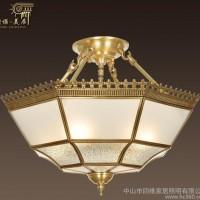 斯诺美居欧式复古全铜吊灯客厅餐厅卧室书房led灯具手工焊锡0